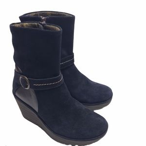 Fly London Yome Wedge Bootie Navy 37 New